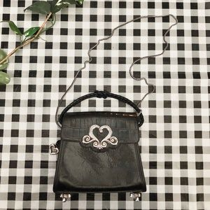 Vintage Brighton embossed leather chain crossbody